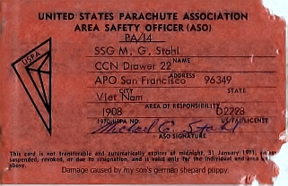 United States Parachute Association Area Safety Officer - South Vietnam
